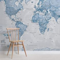 The World in Blue Map Wall Mural World Map Wallpaper & Atlas Wall Murals World Map Mural, World Map Wallpaper, How To Hang Wallpaper, Normal Wallpaper, Custom Wallpaper, Photo Wallpaper, Wall Wallpaper, Wallpaper Designs, Color World Map