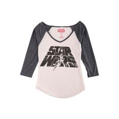Hybrid Juniors Star Wars Graphic Raglan T-Shirt (60.785 COP) ❤ liked on Polyvore featuring tops, t-shirts, v neck t shirts, raglan tee, raglan sleeve t shirts, pink v neck t shirt and hybrid tees