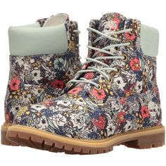 Timberland Icon Fabric Boot (Light Green/Floral Canvas) Women's Boots ($150) ❤ liked on Polyvore featuring shoes, boots, canvas lace up boots, timberland boots, lace up shoes, platform shoes and timberland shoes