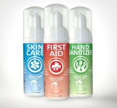 SilverSoft 3 Pack - First Aid Antiseptic, Hand Sanitizer & Skin Care Foam - Alcohol Free, Antibacterial by SilverSoft For Skin. $25.95. SilverSoft Mixed 3 Pack includes First Aid, Hand Sanitizer and Skin Care foam.  This pack makes a great combination for your personal care needs.  All are highly amenable and moisturizing to the skin while providing powerful, natural germicidal action.  SilverSoft Skin products are compatible with all skin types and are unique and versatile.