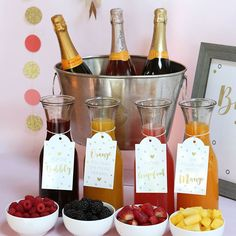 Mimosa Bar Kit - Classic-Early afternoon weddings, sunny bridal showers, brunches, luncheons and even anniversary parties - there's no wrong time for a Mimosa Bar! Kate Aspen Mimosa Bar Kit in a Classic design puts a special touch o Bar Mimosa, Mimosa Brunch, Bubbly Bar, Champagne Bar, Mimosa Party, Party Drinks, Bridal Shower Planning, Wedding Shower Games, Bridal Shower Foods
