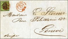 Switzerland cantonal Genf, Michel 6 - Fresh colors, on all sides wide till very wide margins, neat red rosette, beside GENEVE 23 OCT 48 on folded letter, faultless. Certificate from d. Weid  Lot condition   Dealer Jean-Paul Bach  Auction Starting Price: 1000.00 CHF