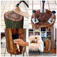 Mesinha de tronco de árvore.