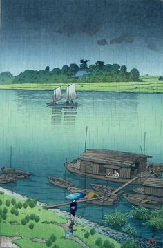 Early Summer Rain, Arakawa, by Kawase Hasui, 1932.