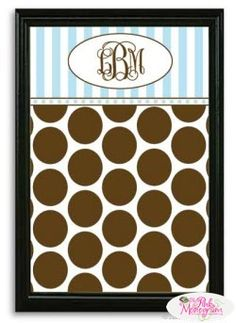 Monogrammed Chocloate Dot and Blue Stripe Magnetic Bullentin Board