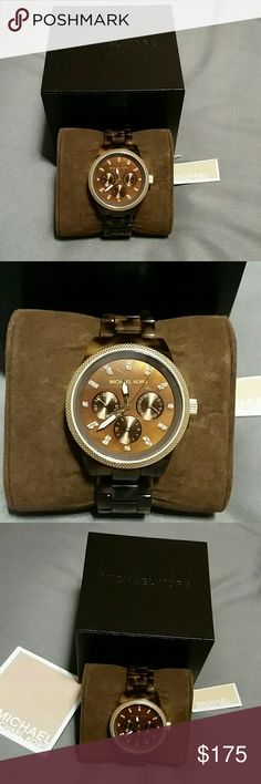 Michael Kors Brown Tortoise Watch Like new, worn once! Gorgeous Michael Kors brown tortoise watch. Still in original box, with original price tag. Brown tortoise band, gold outer, brown face. Hour marks sparkle! Hands are gold with white detail.  (It does need a new battery!) Michael Kors Accessories Watches