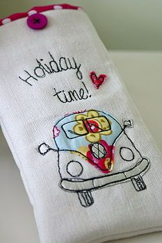 glasses case- embroidered vw van- holiday time