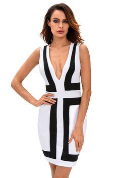 Robes Moulantes Noir Blanc Color Block Col En V Robe Sans Manches Pas Cher www.modebuy.com @Modebuy #Modebuy #CommeMontre #Blanc #me #robes