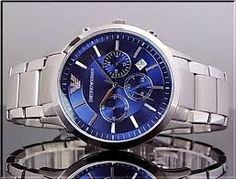 Blue and silver Blue And Silver, Chronograph, Watches, Accessories, Wristwatches, Clock, Ornament