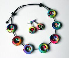 Polymer Clay Set Halskette und Ohrringe