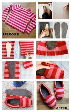 DIY Cozy Slippers From A Sweater - Find Fun Art Projects to Do at Home and Arts…