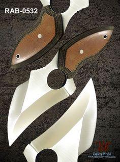 "RaB Cutlery Custom Made Fixed Blade 4.1"" x1/4""Thick D2 Tool Steel Skinning Knife #RaB"