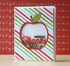 Teacher Thanks Shaker Card by Laura Bassen for Papertrey Ink (April 2015)