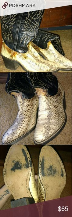 Vintage Womens Python Acme Cowboy Boots These are just a bit to snug for me, size 6.5 B, no sole issues, just an odd brownish color on the scales, not sure due to age or what... Love these, but time to pass them on... Feel free to ask questions! As always smoke free, pet free home! Shoes Heeled Boots