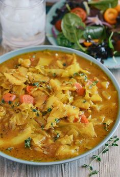 Curry Cabbage (omit coconut milk and add extra vegetable broth to lower fat content) Vegan Cabbage Recipes, Vegetarian Cabbage, Curry Recipes, Indian Food Recipes, Whole Food Recipes, Vegetarian Recipes, Cooking Recipes, Healthy Recipes, Croatian Recipes
