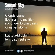 SHORT POEM: Sunset Sky ~ Online Creatives Sky Online, Contemporary Poetry, Short Poems, Sunset Sky, Clouds, Small Poems, Cloud