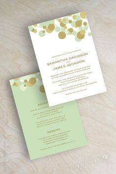 Modern, confetti polka dot, contemporary wedding invitations shown in mint green and gold. www.appleberryink.com