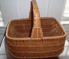 Large Vintage Woven Wicker Gathering Basket. by DragonflyGypsySoul