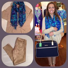 Happy Friday! Time to jump outta those work clothes and in to something you REALLY want to put on! Like the Lilly Pulitzer Sawyer Sweater in Heathered Wheat $248, Worth Skinny Minis in Gold Metallic $168, the Murfee Scarf in Iris Blue Mai Tai $118, and the Navy Boarding Bag $198.