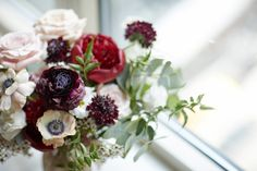 Marsala peonies roses cosmos ranunculus and anemones bridal bouquet by Designs By Ahn photo by Whyman Studios