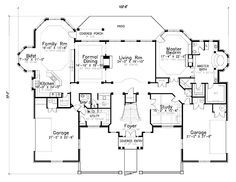 First Floor Plan of House Plan 57185...this is really close to what I want! Just don't need two garages.