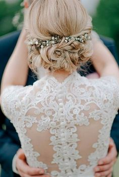 Unbelievable sophisticated lace wedding dress and updo wedding hairstyle perfect match  The post  sophisticated lace wedding dress and updo wedding hairstyle perfect match…  appeared first on  Emme' .. #weddinghairstyles