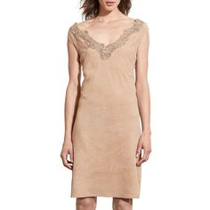 Lauren Ralph Lauren Lace-Trim Suede Dress ($479) ❤ liked on Polyvore featuring dresses, tan, red sheath dress, lace trim dress, tan suede dress, suede dress and red dress