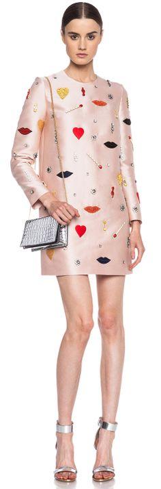 STELLA MCCARTNEY Nude Pink embellished mini dress found at Nudevotion.com