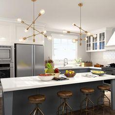 Kitchen Chandelier, Kitchen Pendant Lighting, Kitchen Lighting Fixtures, Kitchen Pendants, Diy Kitchen, Kitchen Decor, Linear Chandelier, Chandelier Lighting, Island Pendants