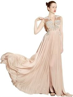 Chain Embroidered Silk Tulle Long Dress on shopstyle.com 3,546