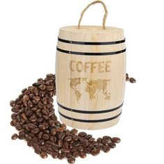 Coffee Beans Container,BCDshop Airtight Storage Wooden Canister for Fresh Coffee Beans Grounds (Khaki) Buy Coffee Beans, Fresh Coffee Beans, Wooden Containers, Chocolate Powder, Coffee Accessories, Coffee Blog, Coffee Talk, Coffee Brewer, Coffee Machine