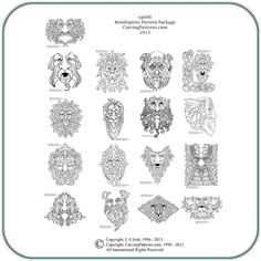 wood burning patterns free | Wood Spirit Pattern Package - Classic Carving Patterns