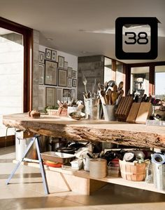 a kitchen island using sawhorses and a slab of wood cut from a large stump.   For an outdoor buffet