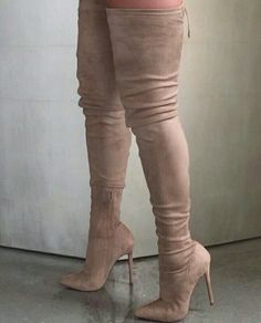 2017 Hot Selling Women Sexy Pointed Toe Corduroy Over Knee High Heel Boots Slim . - 2017 Hot Selling Women Sexy Pointed Toe Corduroy Over Knee High Heel Boots Slim Bandage Elastic Thigh Long Boot Dress Shoes Source by - Cute Shoes, Me Too Shoes, Talons Sexy, Knee High Heels, High Shoes, Beige Knee High Boots, Thigh High Boots Outfit, High Heel Sneakers, Designer Shoes