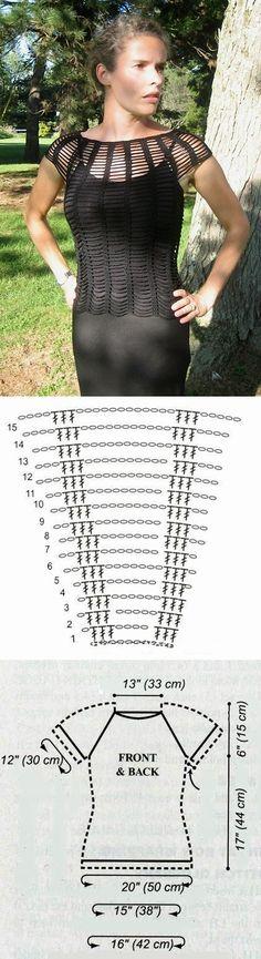 Jersey en cadenetas y en tiras - Patrones Crochet