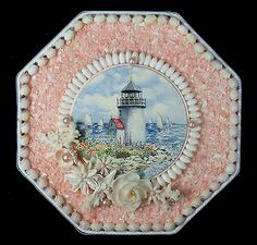 Seashell-Art-SAILORS-VALENTINE-8-034-Octagon-Shell-Mosaic-Lighthouse