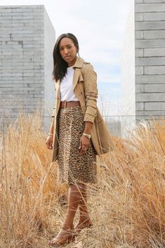 a9a0e306a6 Trench coat leopard skirt spring transition #TheStoriedLife Spring Outfits  Lana Jackson DC Stylist The Storied Life Blog DC Blogger Amour Verte Mona  Silk ...