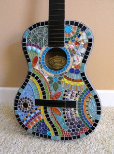 Colorful Mosaic Guitar FREE SHIPPING//Mosaics//Art//Mosaic Art//Home Decor//Wall Decor//Mixed Media Art//One of a Kind Art by memoriesinmosaics on Etsy https://www.etsy.com/listing/240241123/colorful-mosaic-guitar-free