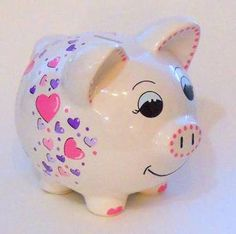 Piggy Bank Pink and Purple Hearts by LittleWhiteDogStudio on Etsy Money Bank, Miss Piggy, Plate Art, Joy To The World, Pottery Painting, Clay Pots, Unicorn Party, Peppa Pig, Craft Fairs
