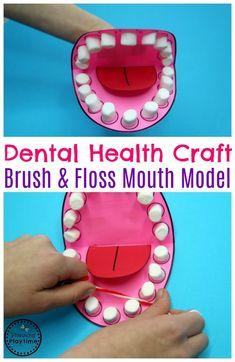 Arte de salud dental preescolar - Modelo de boca para cepillado y uso de hilo dental. #dentalhealth #preschool #preschoolworksheets #preschoolcenters