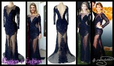 Navy blue, sheer lace matric dress with long sleeves detailed with lace. With silver and blue beads throughout.