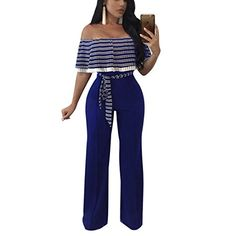 939ccd82f6d52 YYF Women's Wrap Chest Ruffles Jumpsuits Lace Up Bodycon Long Wide Leg One  Piece Pants Strapless