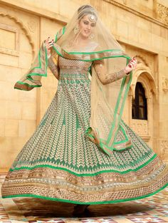 PIKASHO green and beige net embroidered salwar suit