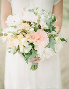 romantic wedding bouquet, white and blush