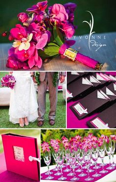 Wedding - hot pink orchids - LOVE the detail on the bouquet.