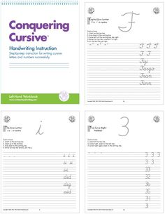 Cursive Instruction pages for left-handers! Words are on the right so student does not cover up the words to be written #handwriting #cursive #lefthand