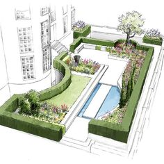 Small lawn rests the eye and balances reflecting pool (Town House North West London by Thomas Hoblyn Suffolk Garden Design). design pool Town House, North West London - Suffolk and Cambridge Garden Design Garden Design Plans, Modern Landscape Design, Landscape Architecture Design, Small Garden Design, Modern Landscaping, Backyard Landscaping, Landscaping Design, Sketch Architecture, Architecture Definition