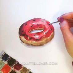 Easy and fun donut drawing tutorial! Learn how to draw a delicious donut and then paint it with simple watercolor washes. You'll be hungry and drawing realistic donuts in no time! Watercolor Video, Watercolour Tutorials, Simple Watercolor, Watercolor Art, Donut Drawing, Food Drawing, Realistic Drawings, Art Drawings Sketches, Water Drawing