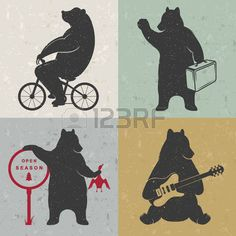guitar logo: Vintage fun Illustration bear on a bike, bear hunter, travel bear and bear with musical guitar. Funny bears on a white background for posters and print T-shirts