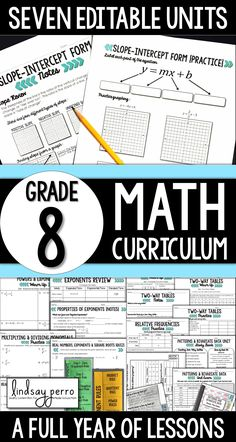 This is a completely EDITABLE 8th Grade Math Curriculum! Customize the questions to fit the needs of your classroom!